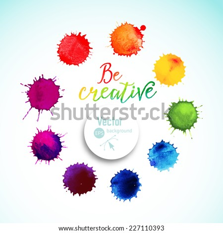 Vector rainbow watercolor blobs. Circle frame of  colorful paint drops, watercolor background,colorful paint drops texture. Vector illustration, stain watercolor. Paints composition - stock vector