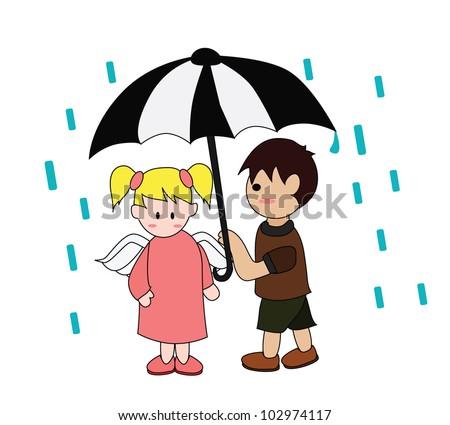 Vector - Raining.He gave her an umbrella. - stock vector