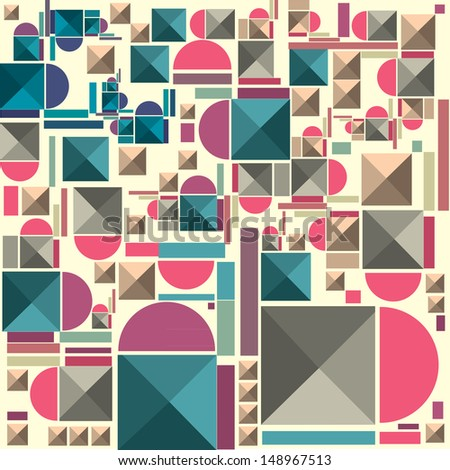 vector random shape vintage colors wallpaper pattern - stock vector
