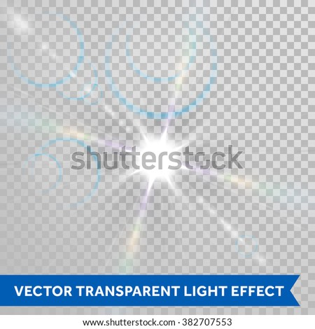 Vector ray of sunlight. Lens flare magic star shine glimmer. Glowing sun beam glaring isolated on transparent background - stock vector
