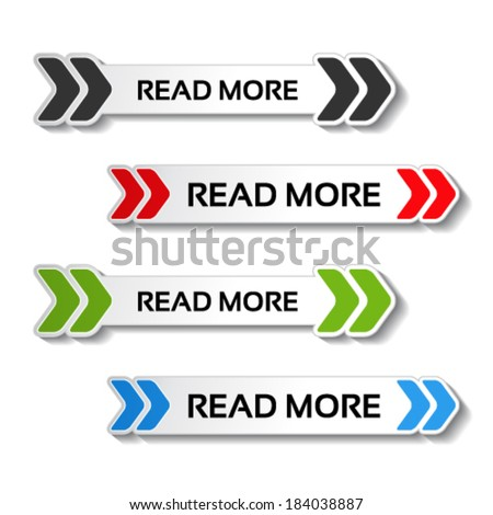 Vector read more buttons with arrows - stock vector