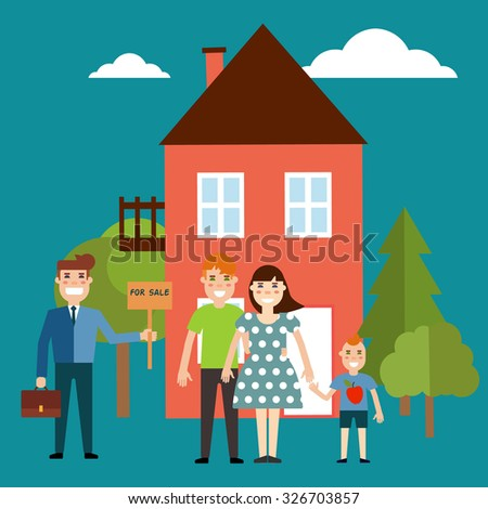 Vector real estate concept in flat style. Agent for the sale of real estate or home buyer holding a portfolio and a sign saying the sale of real estate, take couple with child to buy or rent a house  - stock vector