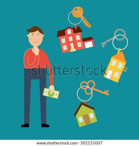 Vector real estate concept in flat style. Buyer with a dollar bill in his hand wondered which house to choose for rental or purchase. Nearby are the keys with key fobs in the form of houses - stock vector