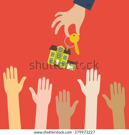 Vector real estate concept in flat style - hand real estate agent holding holds a key with a tag in the form of homes, and buyers with different color skin are pulling hands. Demand and supply - stock vector