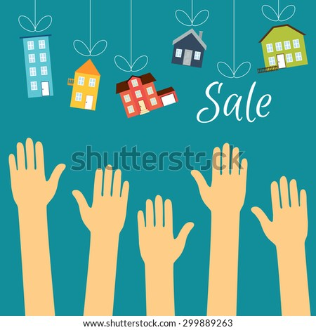 Vector real estate concept in flat style. Hands of buyers are drawn to homes that are hanging on by a thread, the personification of the sale of housing. Demand and supply - stock vector