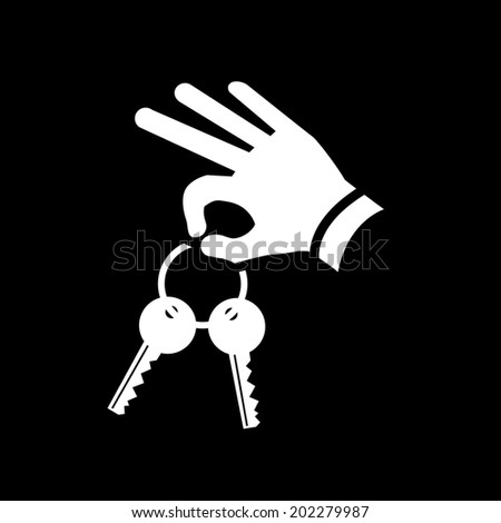vector real estate hand holding keys icon | modern flat design white pictogram isolated on black background - stock vector