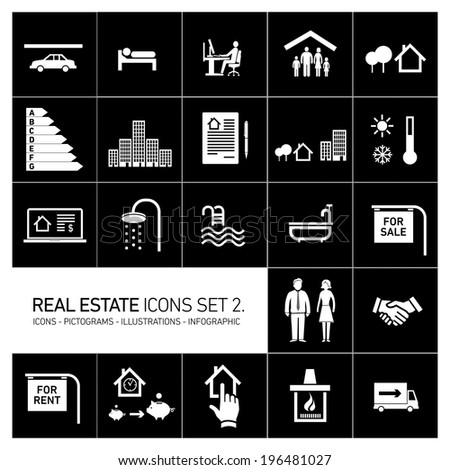 vector real estate icons set modern flat design pictograms white isolated on black background - stock vector