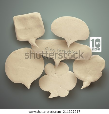 Vector Realistic Clay Speech Bubbles. - stock vector