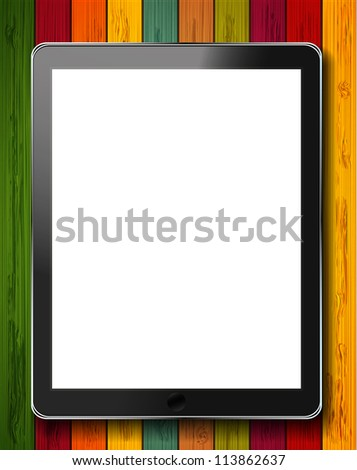vector realistic computer tablet on colorful wooden background. Eps10 - stock vector