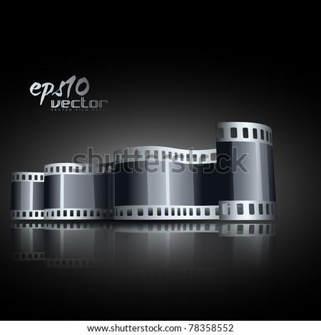 vector realistic 3d film reel - stock vector