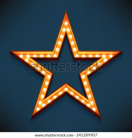 Vector realistic 3d volumetric icon on marquee sign five pointed star frame lit up with electric bulbs | Retro looking presentation design element golden star symbol glowing with lamps  - stock vector