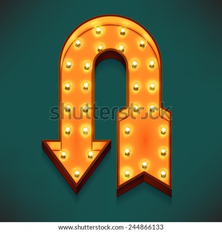 Vector realistic 3d volumetric icon on marquee sign u-turn arrow lit up with electric bulbs | Retro looking wall decoration element reverse arrow glowing with lamps  - stock vector