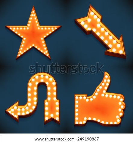 Vector realistic 3d volumetric icons on arrows, like feature thumbs up star symbols glowing with bulbs | Marquee thumbs up gesture and favorite star lit with lamps for social media marketing design - stock vector