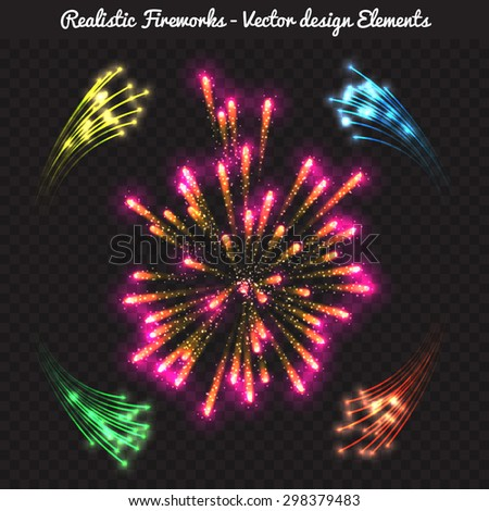 Vector realistic fireworks for festive celebrations - New year, birthday, carnival, weddings and other holidays - stock vector