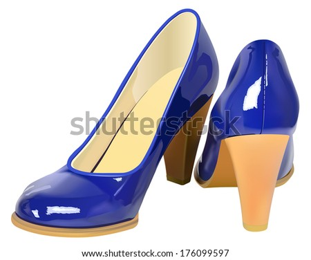 Vector Realistic High Heel Shoes on White Background, Gradient Mesh used - stock vector
