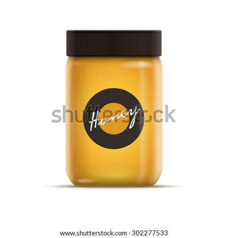 Vector realistic illustration of honey or jam jar. Yellow is global color. Easy editable. CMYK mode. Print ready.  - stock vector