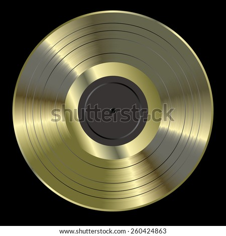 vector realistic illustration of the blank golden LP - stock vector