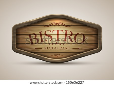 Vector realistic illustration of wooden signboard. Elements are layered separately in vector file. - stock vector