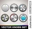 Vector Realistic Knobs Set - stock vector