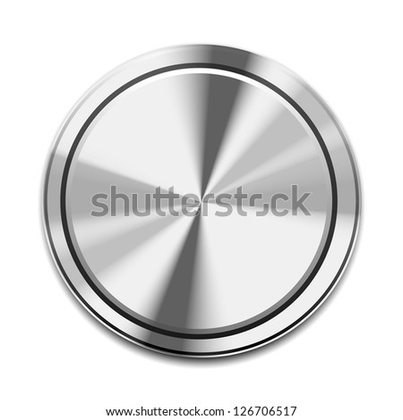 Vector Realistic Metal Button Icon isolated on white - stock vector