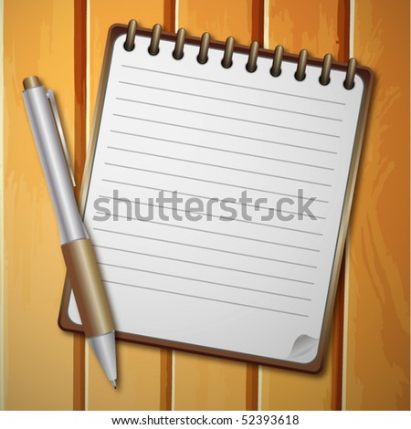 vector realistic notebook and background for text with pen on wooden background - stock vector