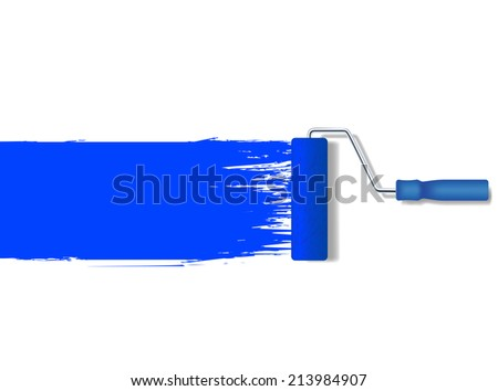 vector realistic paint roller painting a blue line - stock vector