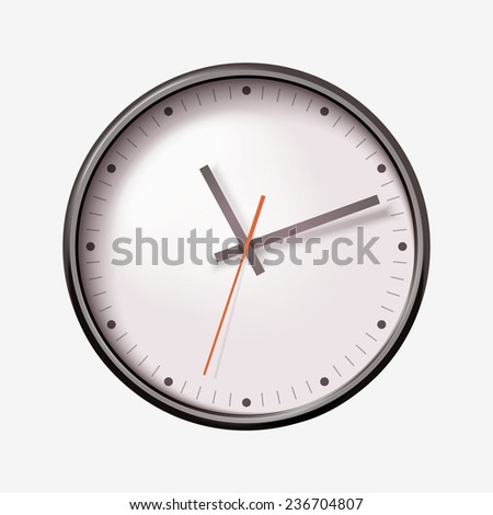 Vector realistic round wall clock on white background. - stock vector