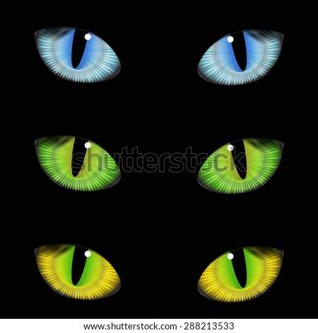 Vector realistic set colorful cat eyes on background - stock vector