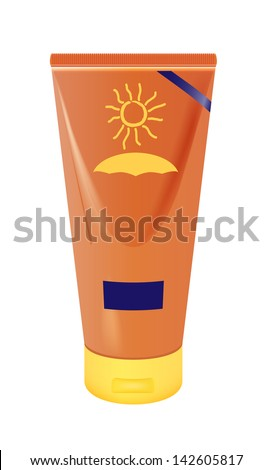 vector realistic sun lotion container on white background, eps10 file, gradient mesh and transparency used, raster version available - stock vector