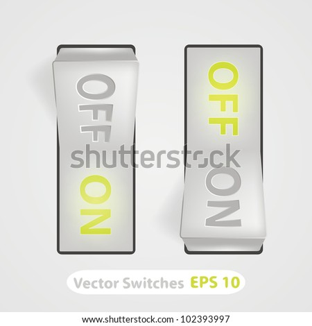 Vector realistic switch. ON and OFF positions. - stock vector
