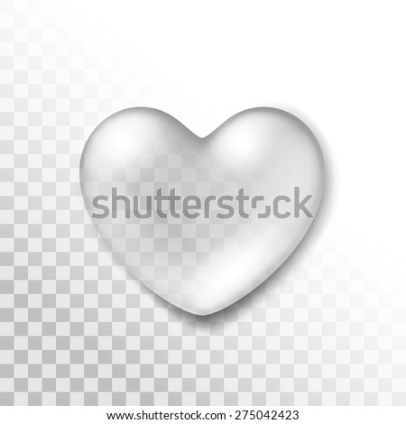 Vector Realistic Water Heart Drop Isolated on Transparent Background - stock vector