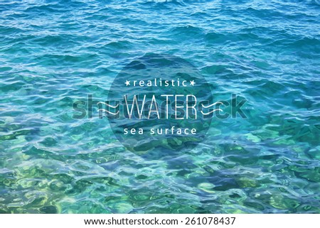 vector realistic water texture with sample text - stock vector