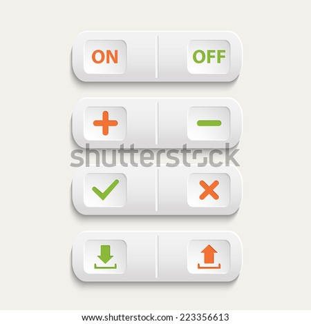 Vector  realistic white web buttons :on and off,plus and minus, add and cancel, download and send the arrow marks,Yes, No checkmark isolated on a white background - stock vector