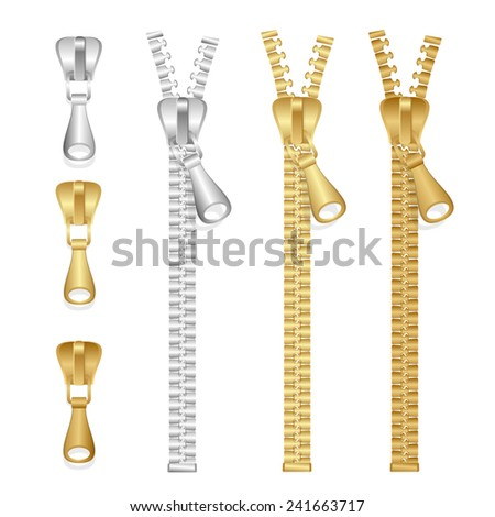 Vector realistic zippers type set isolated on white - stock vector