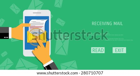 Vector receive mail web flat background. Global communication. Social network. Concepts for web banners and promotional materials. - stock vector