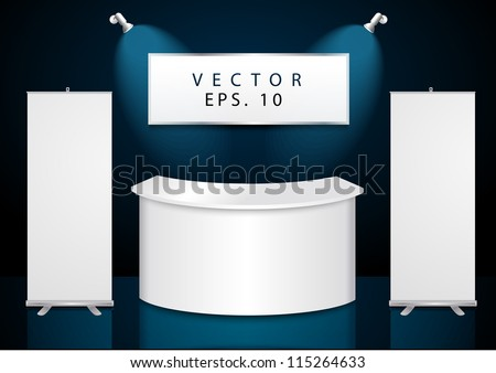 Vector reception exhibition counter With roll up banner stand - stock vector