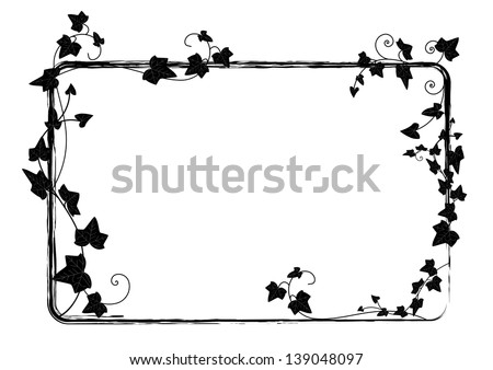 vector rectangle frame with branch of ivy - stock vector