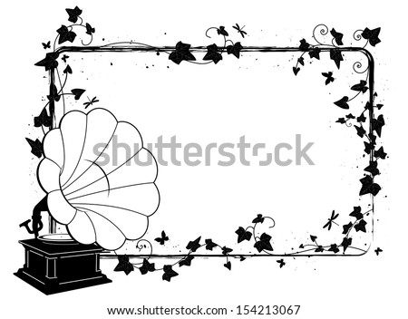 vector rectangle frame with branch of ivy and gramophone - stock vector