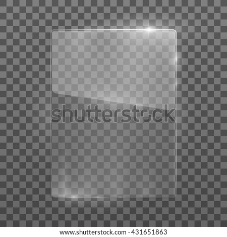Vector rectangle glass frame. Isolated on transparent background. Vector illustration, eps 10. - stock vector