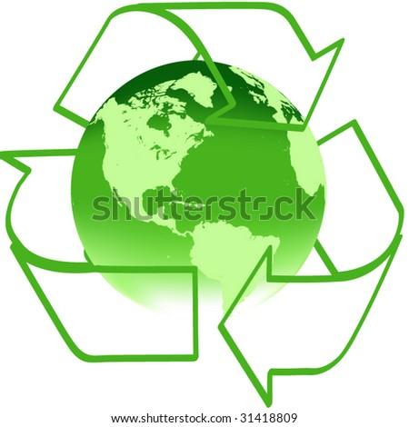 Vector recycle arrows with green earth - stock vector