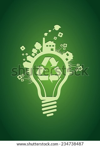 Vector recycle bulb - stock vector