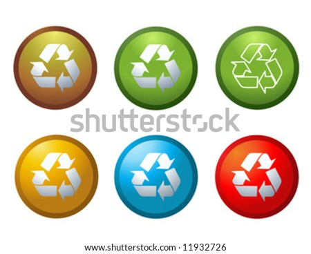 Vector recycle buttons icons symbols illustration - stock vector