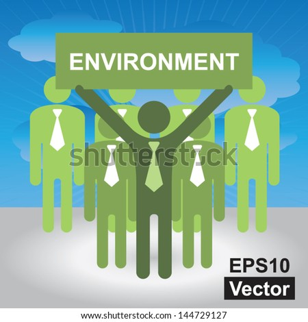 Vector : Recycle, Save The Earth or Stop Global Warming Concept Present By Group of Businessman With Green Environment Sign in Blue Sky Background - stock vector