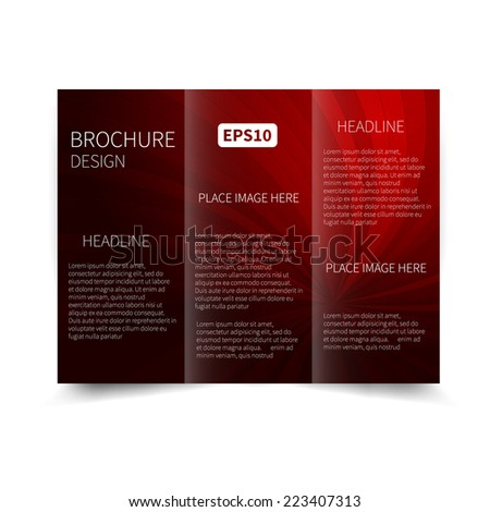 Vector red and black tri-fold brochure design template with abstract background with sunbeams EPS 10 Tri-Fold Mock up & back Brochure Design - stock vector