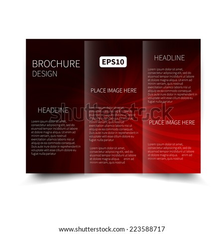 Vector red and black tri-fold brochure design template with abstract background with sunbeams EPS10 Tri-Fold Mock up & back Brochure Design - stock vector