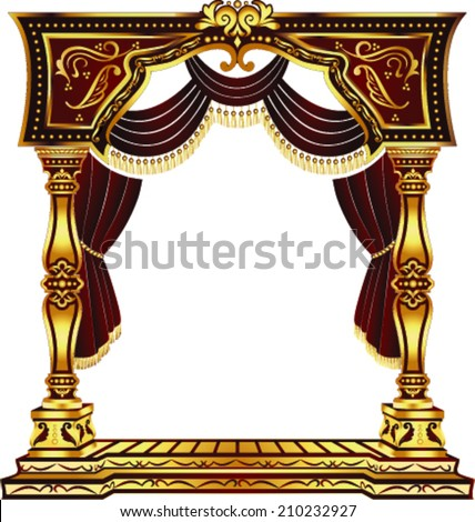 Vector Red and Gold Classic Arch With Curtains - stock vector