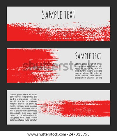 Vector red and white background. Banners set for message. Brush strokes, blobs and splashes design headers. - stock vector