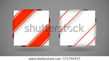 vector red and white christmas corner ribbons with light shadow - stock vector