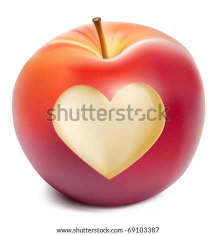 Vector red apple with a heart symbol - stock vector
