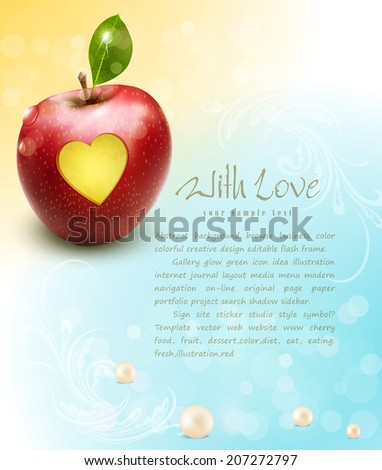 vector red apple with carved heart on a celebratory background  - stock vector